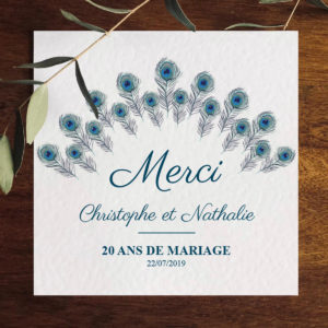 Carte Merci collection Paon personnalisable