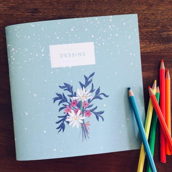 Cahier de dessins Marguerite - Flamant Jaune Paris - Papeterie de maison
