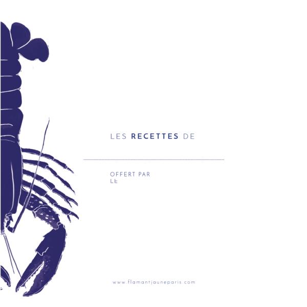 Cahier de recettes Coquillages et Crustacés - Flamant Jaune Paris - Papeterie de maison