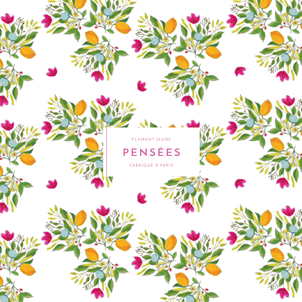 Cahier de pensées Bouquet de citrons - Flamant Jaune Paris - Papeterie de maison