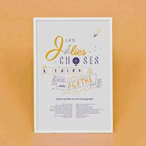 Affiche illustrée les Jolies choses personnalisable - Enfant - Flamant Jaune Paris - Papeterie de maison